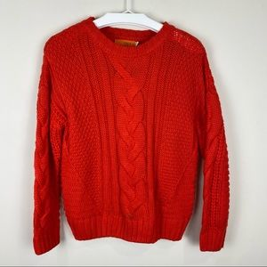 One A Cable Knit Crew Neck Sweater